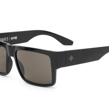 Spy - Cyrus Black Sunglasses, Happy Grey Green Lenses