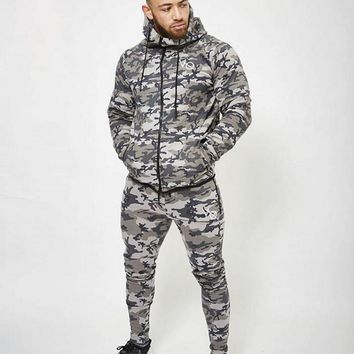 2018 New Fashion Men Camouflage Sets Men Long-Sleeved Hoodies+pants Two-piece Male Tracksuit Men's Casual Sportswear Suits