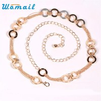 Womail belt women 2017  Fashion Style gold chain belts for women Waistband 110cm Gift 1pc