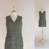 70s Dress / 60s Dress / 70s Plaid Mini Dress / Plaid Jumper / Tweed Dress /  Plaid Vest