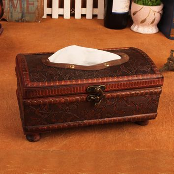 Vintage Box Innovative Leather Tissue Box [11133761804]