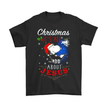 ESB8HB Christmas It's All About Jesus Woodstock And Snoopy Shirts