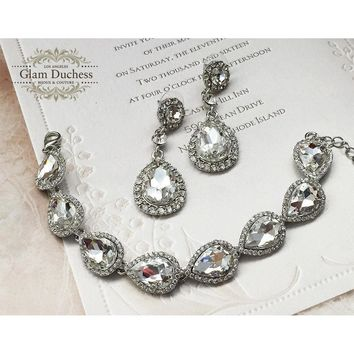 Bridal Necklace and Earring Set, Bridesmaid Proposal Jewelry