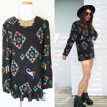 Vintage 80s dynasty disco evening sequined beaded blouse
