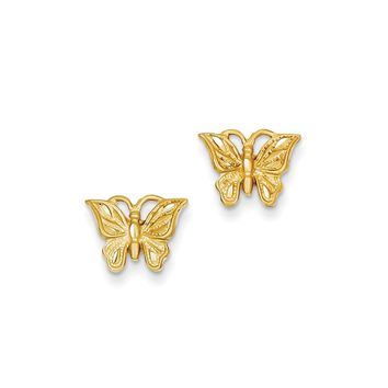 14k Yellow Gold Diamond-cut Butterfly Earrings