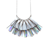 Holographic Statement Necklace, Tassel Necklace, Leather Tassel Jewelry | Boo and Boo Factory - Handmade Leather Jewelry