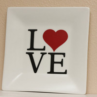 LOVE Decorative Plate  Word Art  Red Heart  by TheBeautifulHome