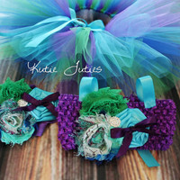 Peacock Tutu Top Headband & Leggings Turquoise by KutieTuties