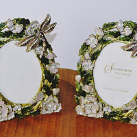 """Sherborne Czech Crystal Picture Frames, 3.5"""" x 5"""" Easel Back Picture Frames, Tabletop Frames, Crystal Dragonfly And Floral Enamel"""