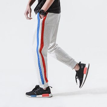 High Street Men Fashion Casual Harem Pant Jogger Sweatpant Stripe Splice Elastic Waist Male Loose Trousers