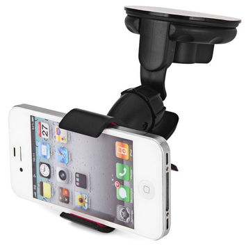 360° Rotating Universal Car Windshield Mount Stand Smart Mobile Phone Holder for iPhone HTC Samsung MP4 MP5 GPS (Color: Black) = 1845694980