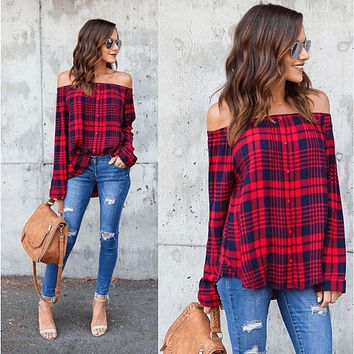 Women's Off Shoulder Plaid Tops Long Sleeve Shirt Casual Blouse Loose T-shirt #