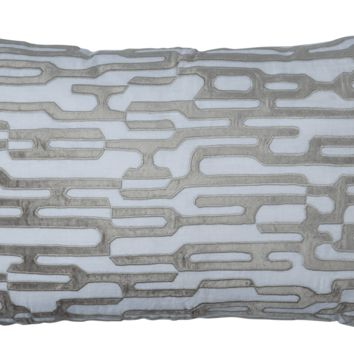 Christian White and Platinum Large Rectangle Pillow by Lili Alessandra