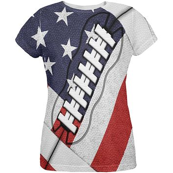 4th of July American Flag Patriot Football All Over Womens T Shirt