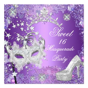 Purple Sweet  Sixteen 16 Masquerade Party Tiara 5.25x5.25 Square Paper Invitation Card