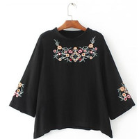 Black Embroidered Round Neck Blouse