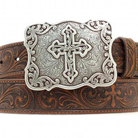 Nocona Women's Embossed Cross Buckle Brown Leather Belt