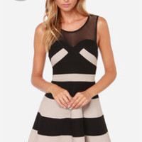 LULUS Exclusive Swing and Shout Beige and Black Striped Dress