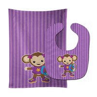 Monkey with Backpack Baby Bib & Burp Cloth BB7017STBU