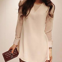 White Long Cuff Sleeve Chiffon Shirt Dress