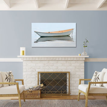 Nautical Art Canvas Gallery Wrap Rowboat Photo Large Wall Art Nantucket Boat Photography White Beige Gold Ivory Cream Living Room Bedroom