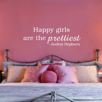 "Audrey Hepburn Happy Girls Are The Prettiest Quote Wall Decal 12""h X 30""w"