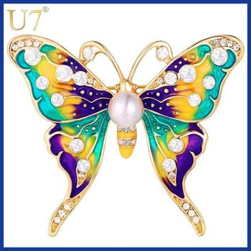 U7 Butterfly Brooches Women Party Jewelry Gift for Her Luxury Colorful Rhinestone Beautiful Insect Brooch Pin B122