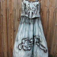Vintage upcycled hand painted skeleton dress / dia de los muertos / day of the dead / halloween costume LARGE Gunne Sax size 15