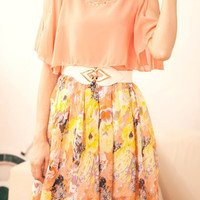 Pink Floral Print Chiffon Short Sleeve Dress