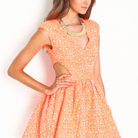 NEON EMBROIDERED CUT OUT DRESS