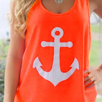 Anchor Print Sleeveless Bowknot Tank Top
