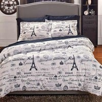 Comforter Set & Curtains Paris Themed Eiffel Tower Parisian Black White Newspaper Print Boudoir