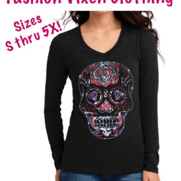 Day of the Dead Bling Rhinestud Rhinestone Sugar Skull Long Sleeve V-Neck Shirt S M L XL Plus Size 1x 2x 3x 4x 5x