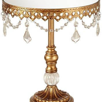 Dahlia Studios Antique Gold and Crystal Mirror Top 12x10 Round Cake Stand