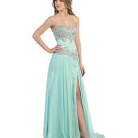 Mint Sweetheart Corset Bodice High Slit Gown 2015 Prom Dresses