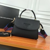 991 Prada 82502 Fashion Leather Knit Strap Flap Bag Causal Baguette Bag 24-15-10cm