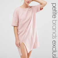 One Day Petite Oversized T Shirt Dress With Split