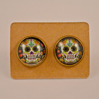 Skull Jewelry // Gifts for Her // Day of the Dead// Halloween // Festive White Sugar Skull // Candy Skull Antique Bronze Earrings
