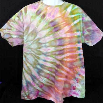 Hand Dyed Tie Dye Shirt L (Ice Dye) | Hanes Beefy-T 6.1oz.  Shirt Adult Unisex