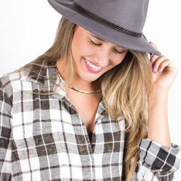 Braided Trim Wool Panama Hat
