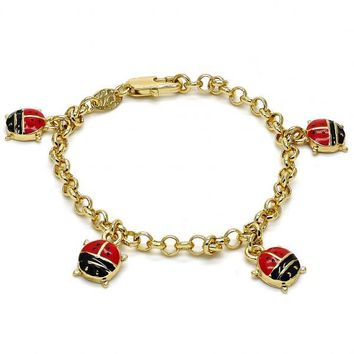 Gold Layered 03.63.1361.06 Charm Bracelet, Ladybug and Rolo Design, Multicolor Enamel Finish, Gold Tone