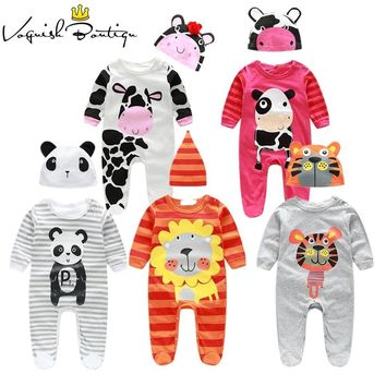 Baby Boy Baby Girl romper cow/ panda/lion/ tiger long-sleeved with cute hat