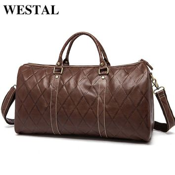 WESTAL Genuine Leather Men Travel Bags Carry On Luggage Bag Zipper Men Bags Casual Men's Travel Leather Duffle Bag Handbag Tote