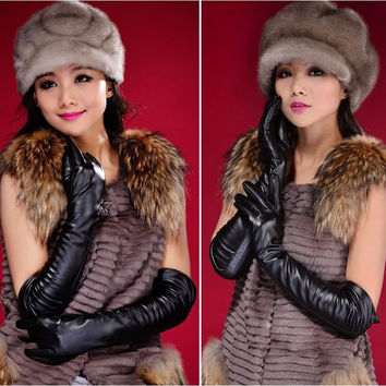 Elegant Black The 2014 New Faux Long Leather Gloves Women's Winter Autumn Warm Outdoors Long Design Gloves