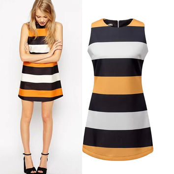 Women's Fashion Stripes Slim Sleeveless Skirt One Piece Dress [5013218180]