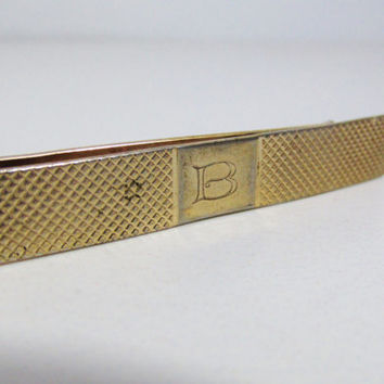 Vintage Tie Bar, Money Clip: Gold Tone with Letter B