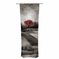 """Viviana Gonzalez """"The Red Sounds And Poems 1"""" Black Tree Decorative Sheer Curtain"""