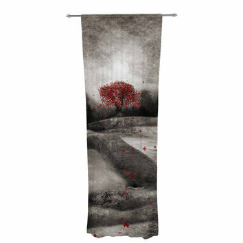 "Viviana Gonzalez ""The Red Sounds And Poems 1"" Black Tree Decorative Sheer Curtain"