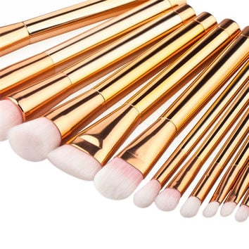 15pcs Rose Gold Makeup Brushes Tools Set Nylon Hair Foundation Blush Powder Concealer Brush Make Up Cosmetic Kit