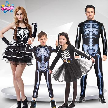 Men Women Children Halloween party cosplay skull devil ghost ghoul costumes with Skeleton printing zombie Mummy clothes